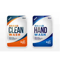 Detergent cleaner and hand wash liquid labels vector