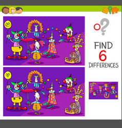 Differences game with clown characters vector