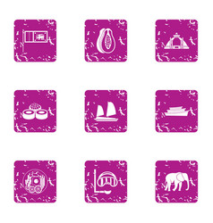 Elite rest icons set grunge style vector