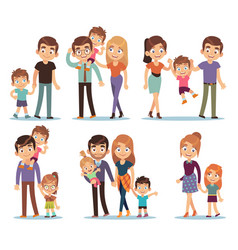 Family characters happy traditional families vector