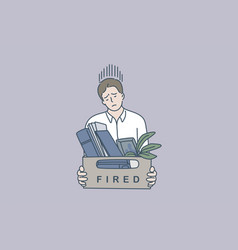 feeling sad of being fired concept vector image