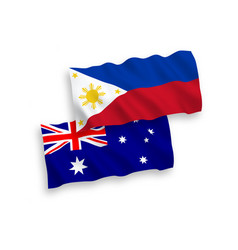 Flags australia and philippines on a white vector
