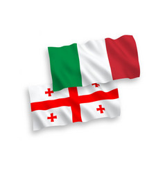 Flags italy and georgia on a white background vector