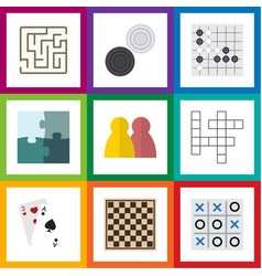 Flat icon games set of ace labyrinth people and vector