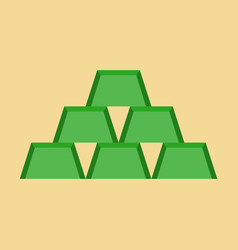 Flat icon on stylish background gold bars vector