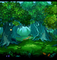 Forest magic moving trees cartoon vector