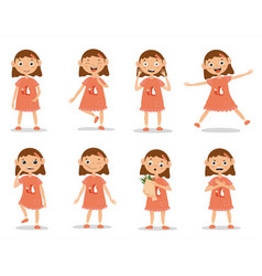 Funny kid girl emotion expressions vector