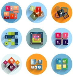 Geometric flat templates icon set vector image