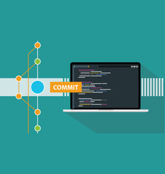 Git commit command programming technology code vector