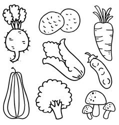 Hand draw vegetable of doodles vector