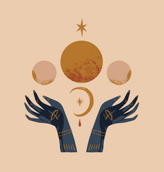 Hand drawn boho hands and moon art vector