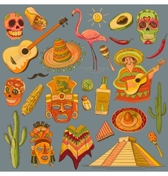 Hand drawn mexico icons set vector