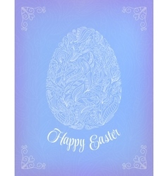 Happy Easter Card Doodle ornate white floral egg vector image