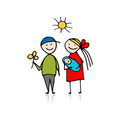 happy parents with newborn sketch for your design vector image vector image