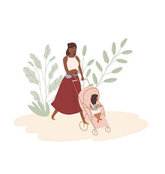 Happy young mom walking with baby in stroller vector