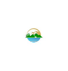 house nature landscape lake logo vector image