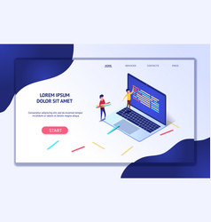 isometric web banner development process vector image