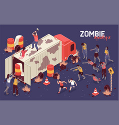 Isometric zombie struggle background vector