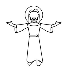 Jesus christ blessed faith outline vector