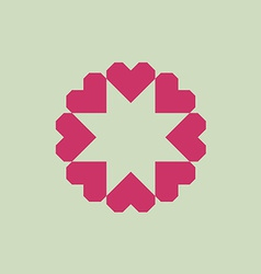 Letter O logo from geometric hearts as a flower vector image