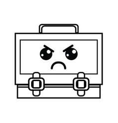 Line kawaii cute angry suitcase design vector