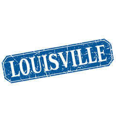 Louisville blue square grunge retro style sign vector