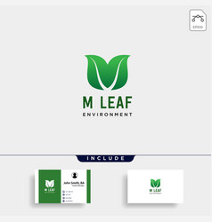 M initial leaf eco nature environment simple logo vector