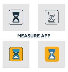 measure app icon set four elements in diferent vector image