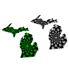 Michigan - map is designed cannabis leaf vector