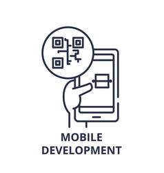 mobile development line icon concept mobile vector image