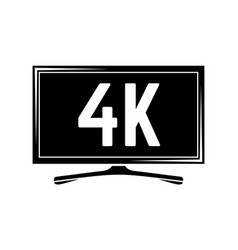 monochrome image with tv plasma isolated on vector image