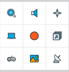 Multimedia icons colored line set with controller vector
