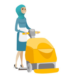 muslim worker cleaning store floor with machine vector image