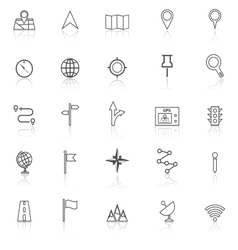 Navigation line icons with reflect on white vector