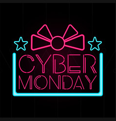 Neon cyber monday promotion vector