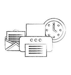 office printer device email clock supplies vector image