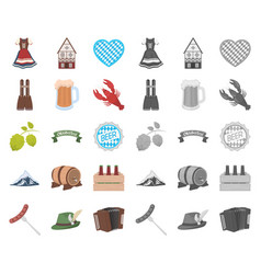 Oktober festival in munich cartoonmono icons in vector