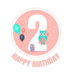 Pink circle with number 2 for birthday decoration vector