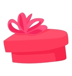 Pink heart shaped gift box with ribbon icon vector