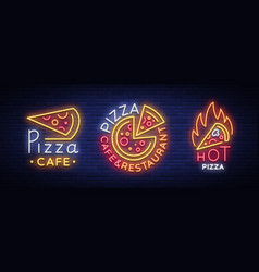pizza collection neon signs set neon vector image