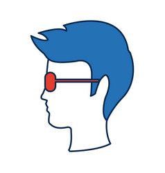 profile man head wear glasses character hairstyle vector image