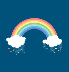 rainbow and clouds on dark blue background vector image
