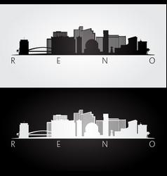 Reno usa skyline and landmarks silhouette vector