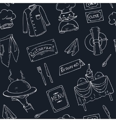 Restaurant doodle seamless pattern vector