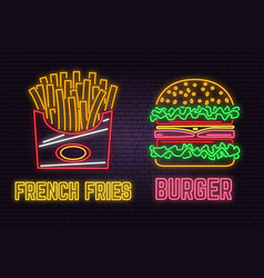Retro neon burger and french fries sign on brick vector