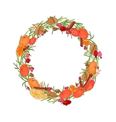 Round festive wreath with fruits and leaves vector image