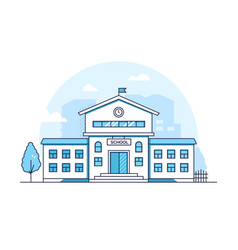 school building - modern thin line design style vector image
