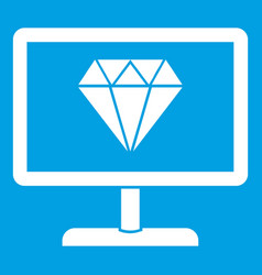 Screen with diamond icon white vector
