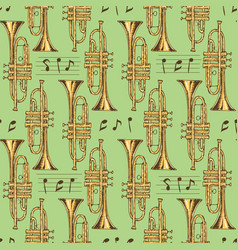 Seamless pattern brass trumpets and notes vector