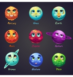 set cartoon funny planets solar system vector image